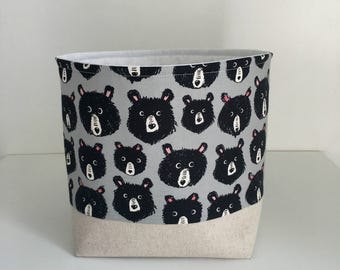Fabric Basket - Storage Basket - Small Toy Storage Container - Bears