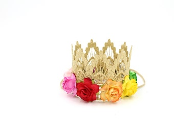 Rainbow flower lace crown || Sienna||mini gold lace crown headband multi color flowers|| firmest lace crowns on the market|| ORIGINAL DESIGN