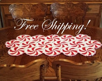 Starlight Table Topper Large Hand Crocheted Homespun Christmas Red and Bright White FREE SHIPPING!