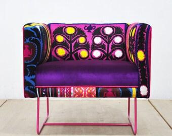 Suzani box armchair - pink love