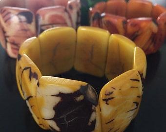 Yellow Tagua Bracelet- Eco-Friendly Jewelry