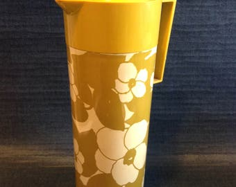 Vintage Aladdin Beverage Butler Thermos,  Pitcher.   Mod Flowers  Mid Century Modern.  Hot or Cold Coffee