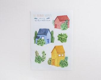 Primary Color House Sticker Set. Set of 5 Stickers. A5 Sticker Page. Vinyl Decorative Stickers. A5 Sticker Sheet. Woodland Stationery Set