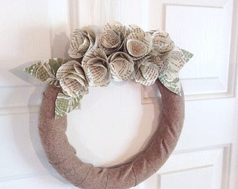 Book Page Wreath -Rustic Wreath -Spring Wreath -Ready to Ship