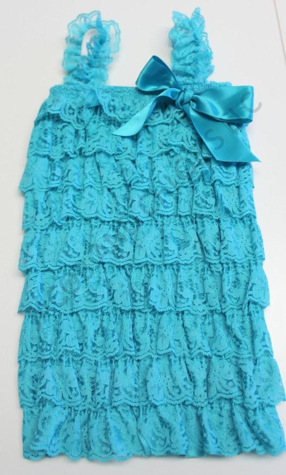 Baby Lace Romper/Aqua Lace Romper/Ruffle Romper/Petti Lace Romper/Newborn Take Home Outfit/Coming Home Outfit,FAST SHIP,Ready to Ship