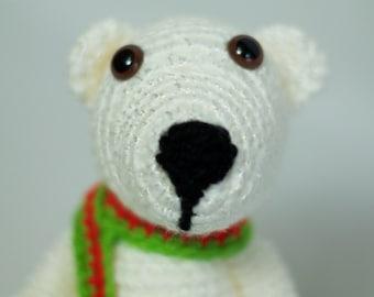Winter White Crochet Amigurumi Polar Bear, Stuffed Toy Bear, Little Stuffed Bear, Stuffed Holiday Bear Plush Toy with Scarf