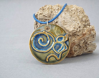 Ceramic Pendant, Statement Necklace, Ceramic Jewelry, Pendant Necklace, Boho Jewelry