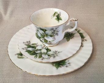"Royal Albert Bone China England Trillium 8"" Salad Plate, 6 1/4""Dessert Plate & Tea Cup"