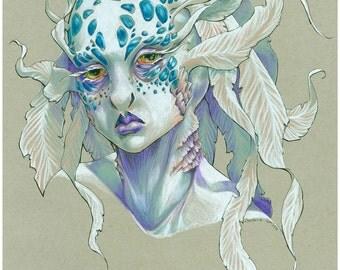 Sea Creature art print, fantasy art, mermaid selkie portrait