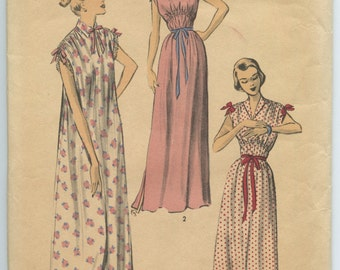 1950s Advance 5653 Misses Short or Long Nightgown Gathered Tie Shoulder Vintage Sewing Pattern Bust 34