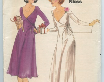 1970s Butterick 5119 Plunging V Neck Wrap Evening or Cocktail Dress John Kloss Vintage Sewing Pattern Bust 31 - 32