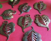 8 Vintage Left And Right Copper Curly Leaves