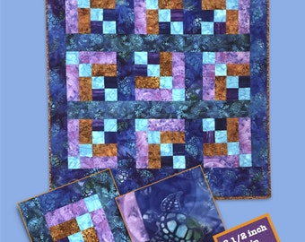 Batik Wall Quilt or Baby Pattern Sand and Surf