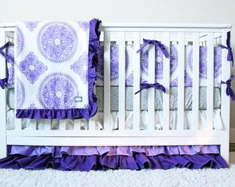 Purple Girl Crib Bedding,  Baby Girl Purple Nursery Bedding Set, Lavender Crib Skirt, Grey Minky Crib Sheet, Purple Baby Blanket