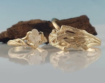 NEW!! His and Hers Matching Twig Wedding Set in 14k Gold,  Twig Wedding Band &  Rough White Sapphire Engagement Ring by Dawn Vertrees
