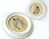 "antique frames, cherub, lithographs, Tojetti, signed, impressed mark , wood, 12"" round, Pair matching frames, white, late 1800s, victorian"
