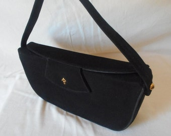 Lennox vintage 50s black suede elongated box purse bag