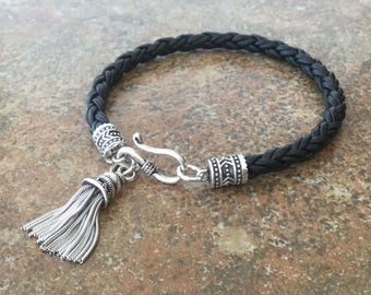 Braided Leather Bracelet Sterling Silver Tassel Chic Bohemian Jewelry Black Leather Bracelet Free Shipping