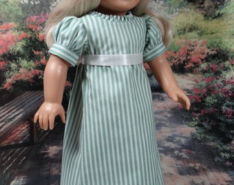 Victorian gown in green and ivory for American Girl or similar 18 inch doll