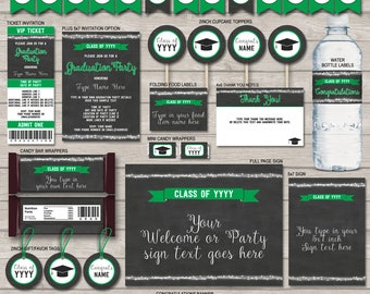 Graduation Invitations, Printables & Decorations - Green Chalkboard - For Any Year - Printable Package - INSTANT DOWNLOAD - EDITABLE text