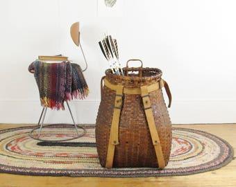 vintage pack basket, vintage backpack, forest. foraging basket,gathering, Adirondack pack basket, storage basket, vintage camping circa 1900