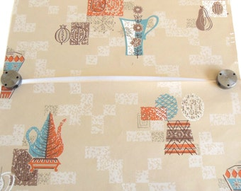 1950s Kitchen Wallpaper Remnants Pieces Scraps Mid Century Modern Wall Covering (9in x 18in pieces)