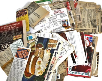 Vintage Recipe Clippings from magazines, newspapers, food packages, etc. & Recipe Cards