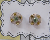 Rhinestone Stud earrings from vintage glass buttons, green & gold button earrings, small hypoallergenic post earrings, sensitive ears studs