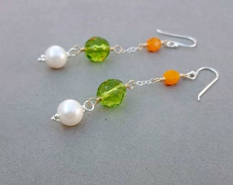 Long Freshwater Pearl Earrings - Green and Orange Vintage Glass Earrings with Sterling Silver and Gold Fill
