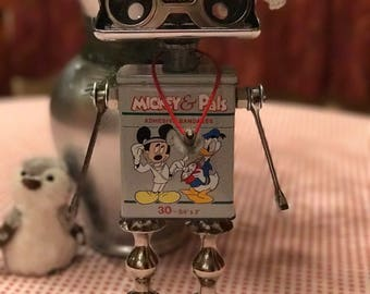 Doc Disney Bot - found object robot sculpture assemblage by Cheri Kudja with Bitti Bots