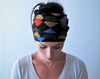 ARGYLE Print Head Scarf - Blue, Red, Mustard Yellow Hair Wrap - Jersey Yoga Headband - Extra Wide Head Scarf - Bohemian Hair Accessories