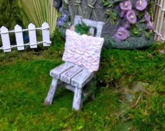 Spring Blue Garden Chair for Fairy Garden or Dollhouse