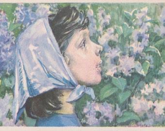 """L. Ostrova """"Lilac"""" Postcard -- 1961. Condition 9/10"""