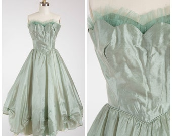 Vintage 1950s Dress • Pine Song • Sage Green Organza 50s Strapless Formal Party Dress Size Small