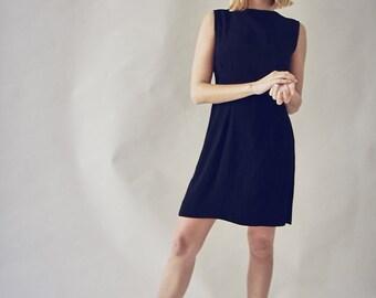 60s Crepe Black Shift Dress