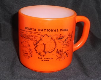 Federal Glass Acadia National Park Bar Harbor Maine Orange Cup Mug