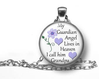 """Grandpa, My Guardian Angel In Heaven, Remembrance, Pendant, Necklace, In Memory Of, Memorial, Keepsake, Gift, Antique Silver, 18"""" Chain,"""