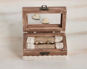 Personalized ring bearer box, Glass ring box, Wedding ring box Engraved wedding Box Proposal Box Custom Ring Box Wedding Holder  Jewelry Box