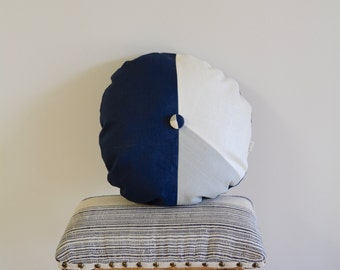 Round Pillow/Tricolor Pillow/Pillow with button/Navy Blue/Ivory/Grey/Handcrafted/Custom Pillow/Handmade/Eclectic/ZigZag Studio Design