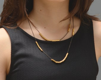 Double gold and black necklace, long necklace, necklace bracelet, short thin necklace, modern gold necklace, gold black necklace, versatile
