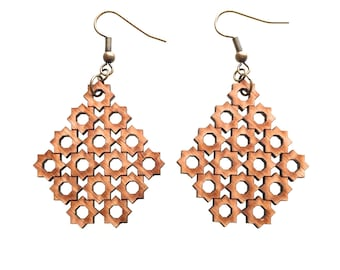 chandelier earrings eco friendly - Bamboo 8 Sided Star Earrings- 1 Ply.  natural bamboo,  geometric wood jewelry. fall fashion