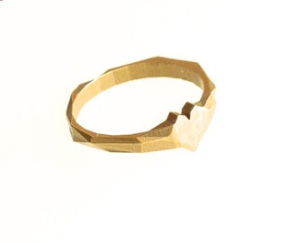 Raw Brass Faceted Heart Ring - Modern Design 3D Printed, rustic. Ready to ship