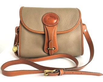 Vintage Dooney & Bourke Medium Essex Bag, R25, Taupe All Weather Leather with Tan Trim, Made in USA