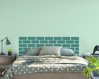 Vinyl Headboard - Brick Wall Headboard - Brick Wall Decal - Brick Wallpaper - Queen Headboard - Bedroom Decor - Rustic Headboard - 6007