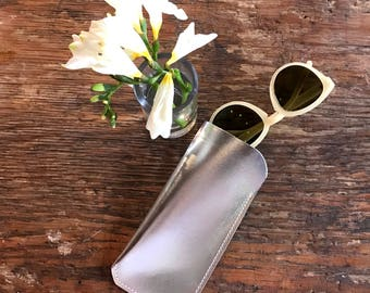 Leather Glasses Case. Leather case for Sunglasses. Metallic Leather Case for Glasses