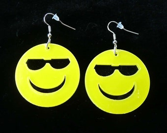 SMILEY FACE Pierced Dangle Earrings with Sunglasses