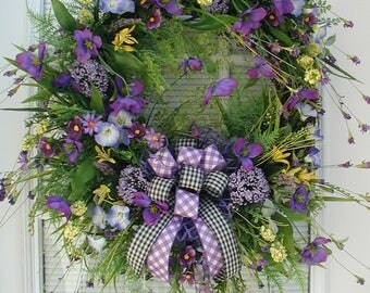 Spring Wreath Summer Floral Front Door Decoration Purple Blue Yellow Clematis Petunias Wild Open Spray Checked Ribbon Custom Grapevine