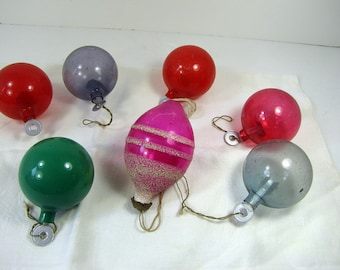 Vintage UNSiLVERED GLASS ORNAMENTS Set/7 Paper Hanger WWII Era Christmas Tree Decor