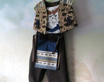 Child's Native American Costume: Fully Lined Vest, Chest Plate, Pants, & Front/Back Breech Cloth, All Cotton, Size 3 To 8, Ready To Ship