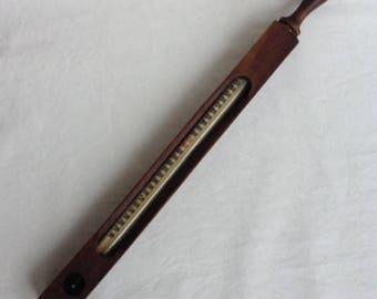 Vintage B. Heller & Co. Chicago Bologna or Sausage Making Cooking Kitchen Thermometer in Wood Case. Made In Germany